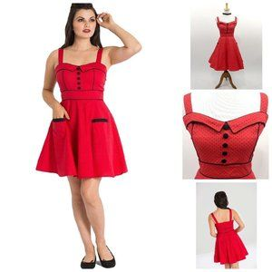 Hell Bunny Vanity Dotted Dress in Red
